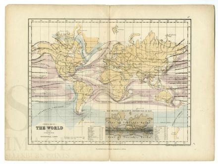 1871 Antique Map THE WORLD Rainfall Distribution CURRENTS Isothermal Lines